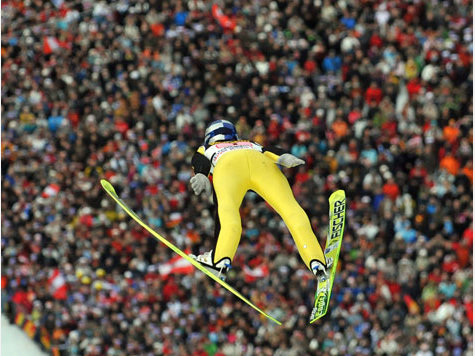 Traditioneel, het skispringen op nieuwjaardag