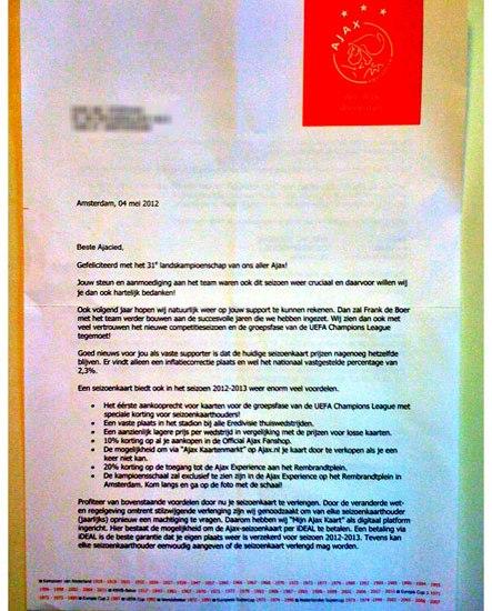 De brief van Ajax