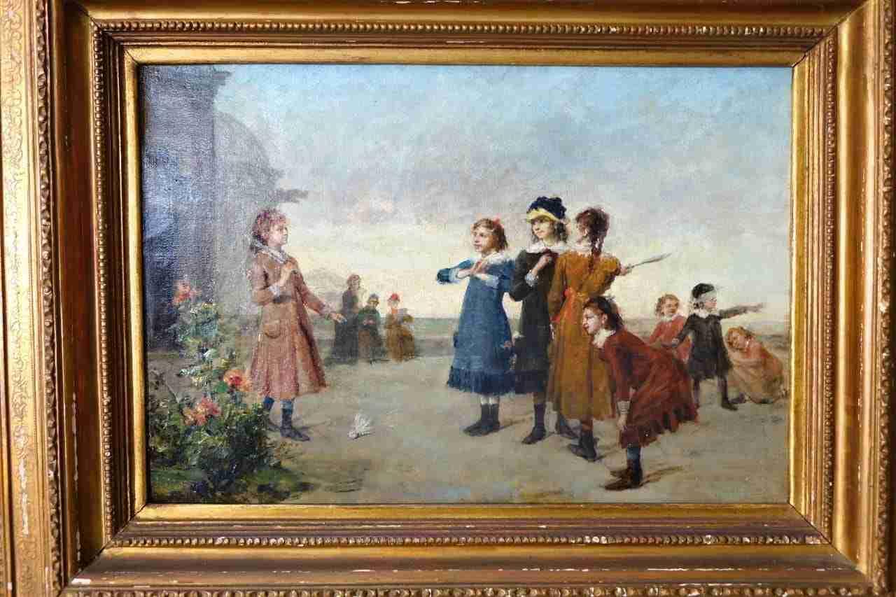 dipinto olio su tela bambini che giocano Gognabrosit