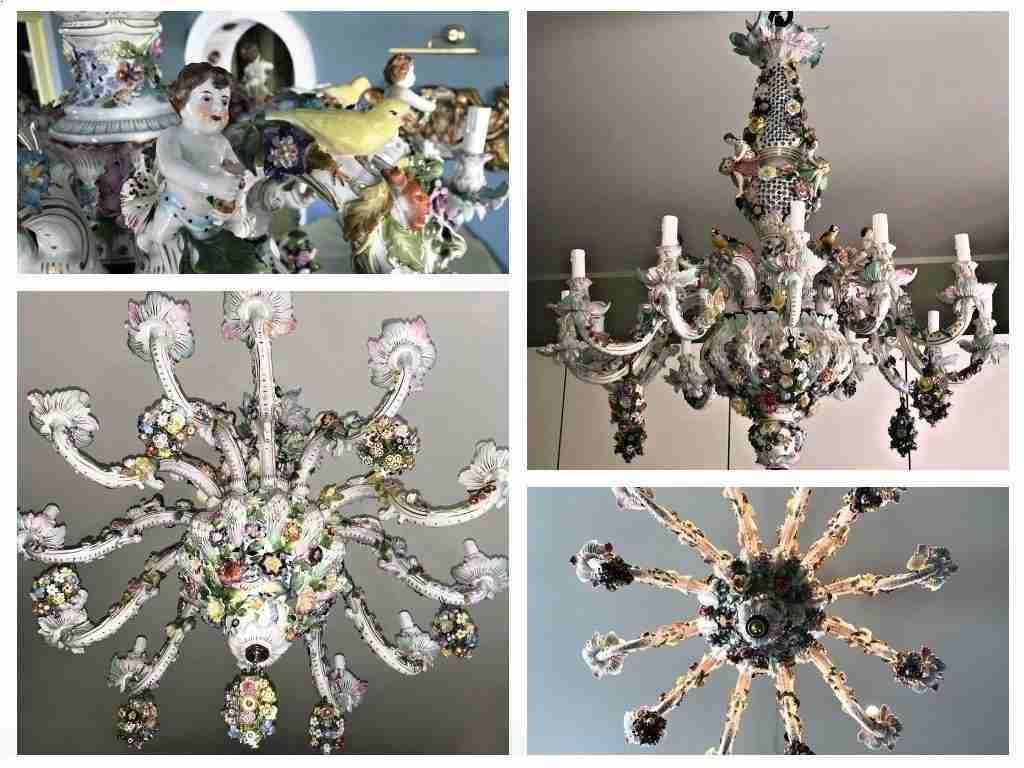 Antiquariato, lampadario, antiquariato lampadari, lampadario antico,. Coppia Lampadari Lampadari Ceramica Meissen Gabriele Gogna