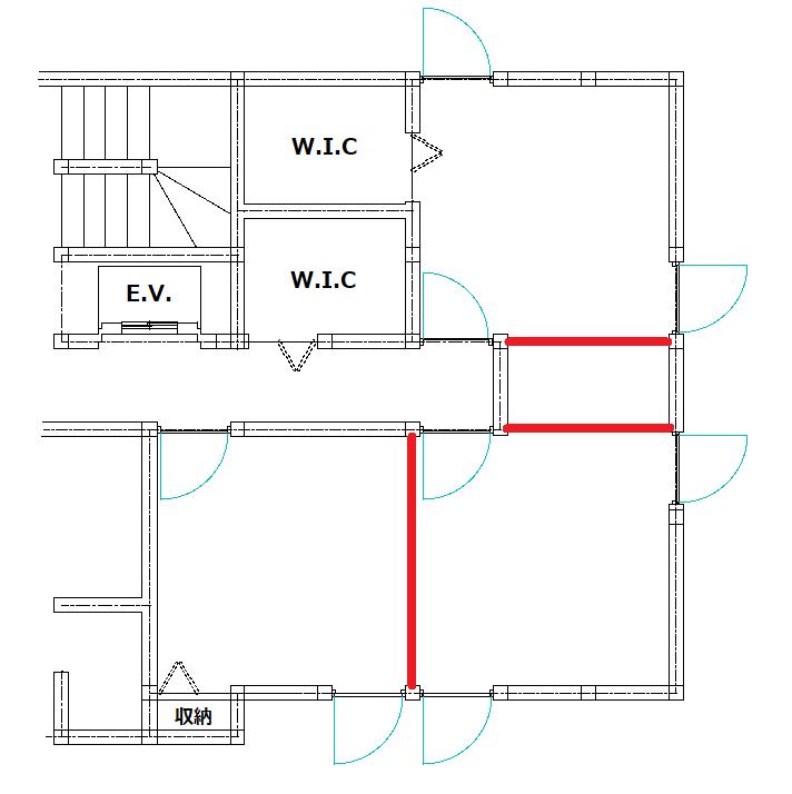 仕切り壁を入れる予定の場所