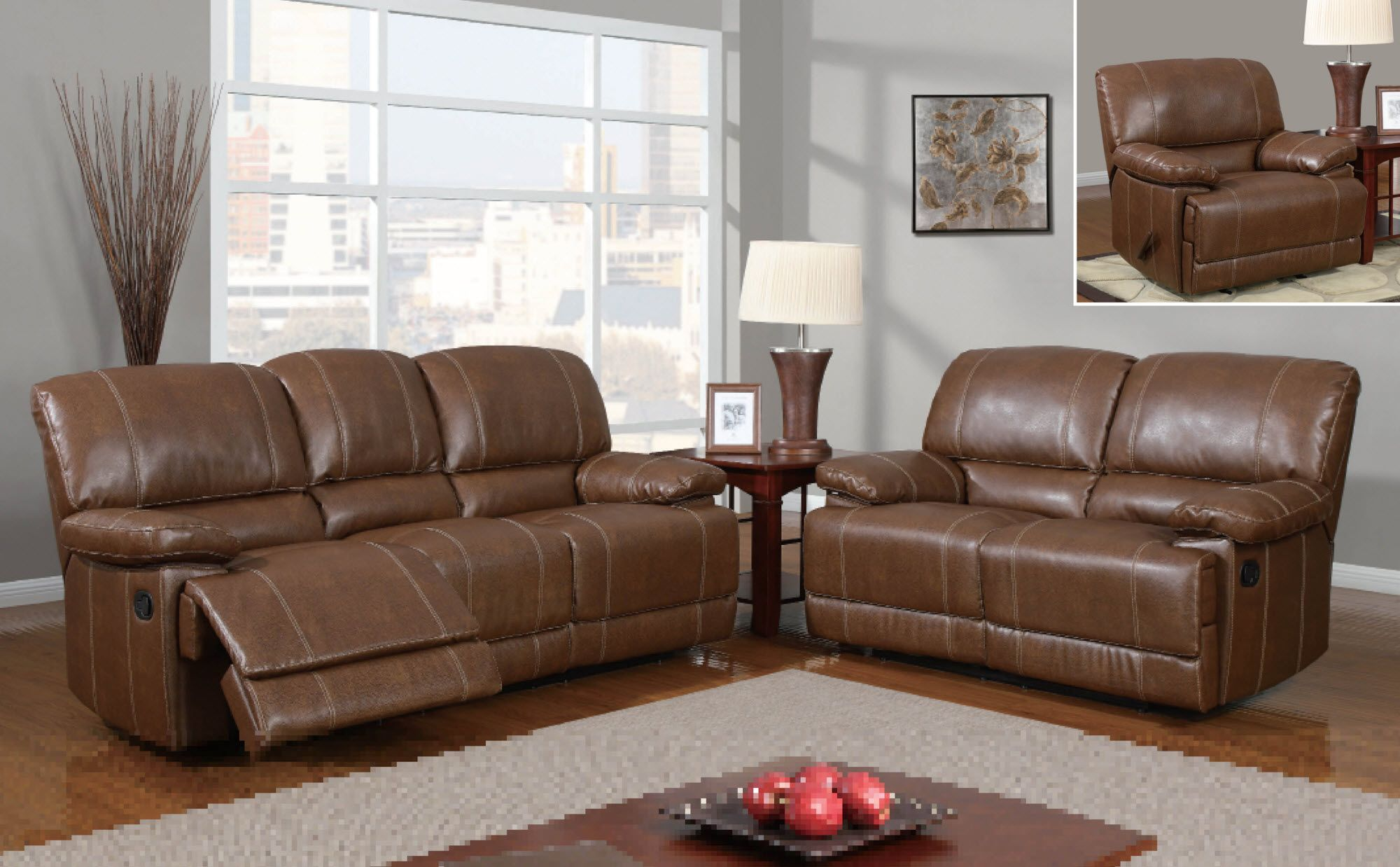 brooklyn bonded leather lounger chair and ottoman flip out sleeper furniture in at gogofurniture com brown 2 pc reclining sofa set with accent stitching loveseat recliner