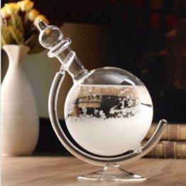 Wetterglas mit Halter Holzoptik & Kristallklar