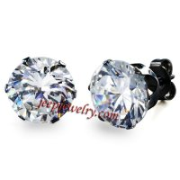 Jewelry Black Stainless Steel Cubic Zirconia Stud Earrings
