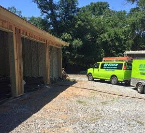 Go Green Spray Foam trucks on job site