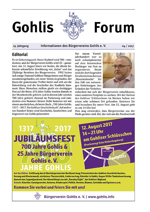Gohlis Forum 4/2017: Reichelt Kommunikationsberatung