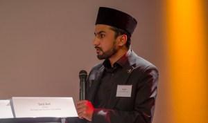 Bei der Podiumsdiskussion: Said Arif, Imam der Achmadyya Muslim Gemeinde; Foto: Andreas Reichelt