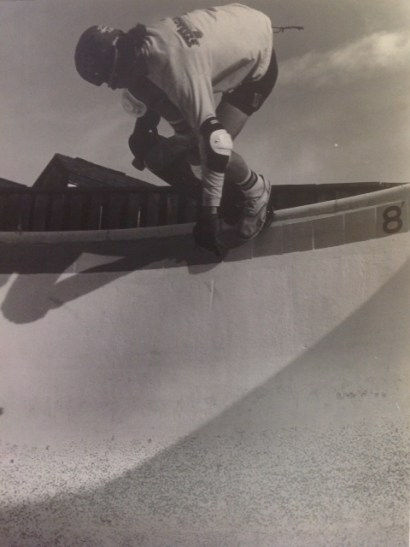 Denny with a tailblock in an apartment building pool near Calvert Hall High School, 1979.