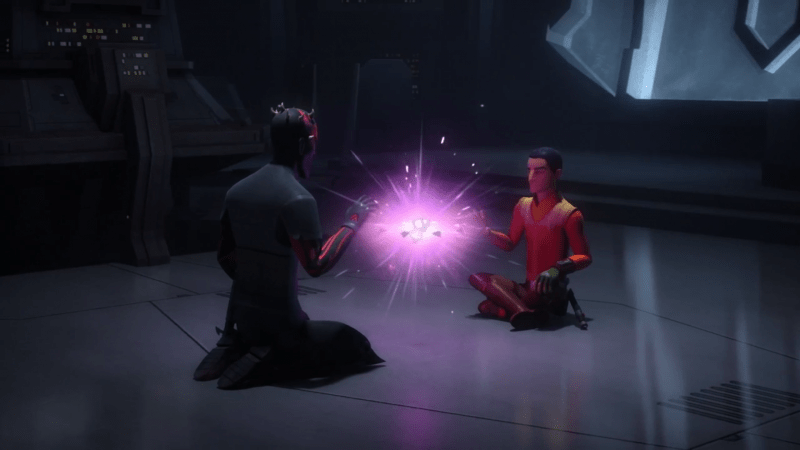 Ezra and Maul merging the holocrons