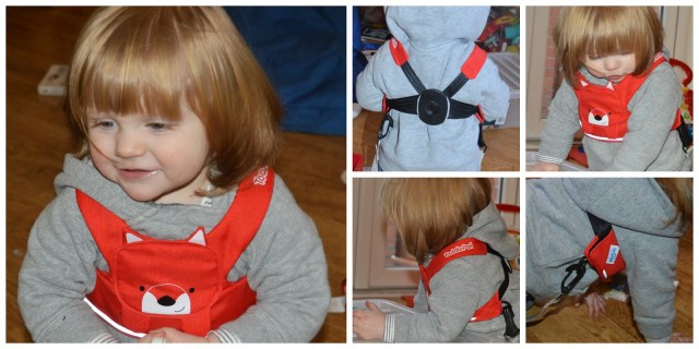 Demonstrating fit of Trunki reins