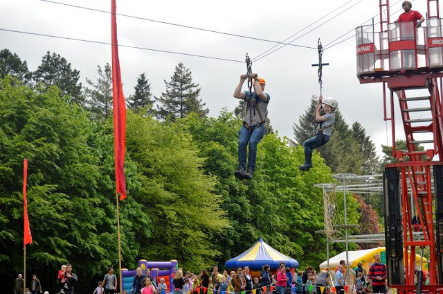 Boys on the zip wire at Geronimo Festival