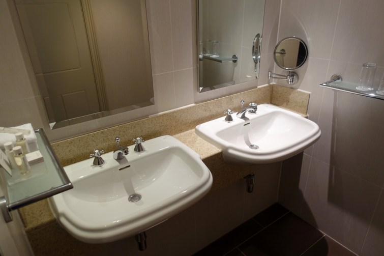 Twin sinks Deluxe Garden View room at The Majestic Hotel, Harrogate
