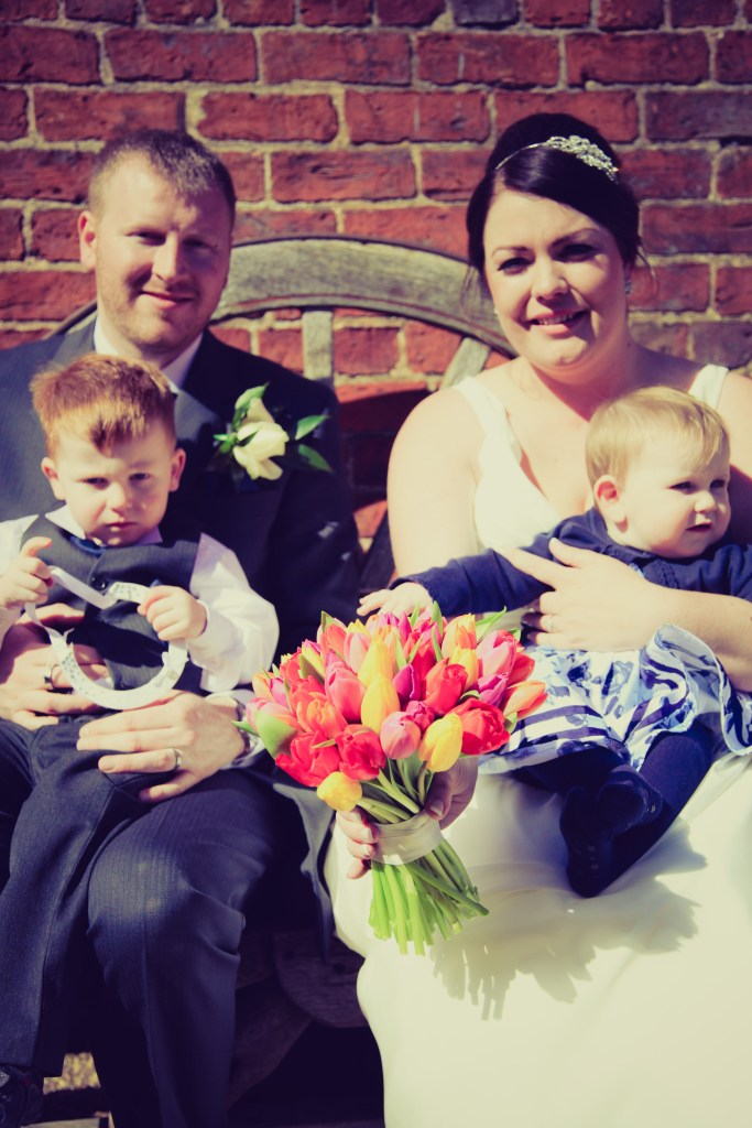 Wedding at York Maze - Bride and Groom with young children