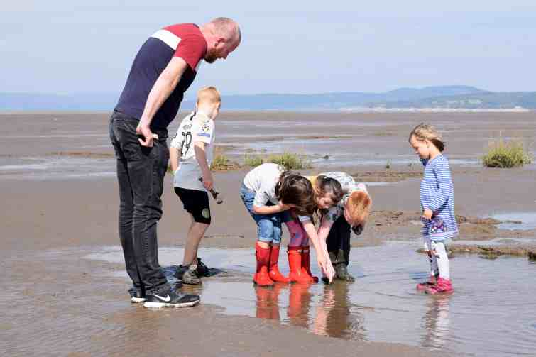 Looking for crabs on the beach near Morecambe