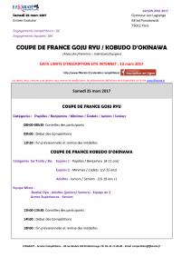 Coupe de France Karaté Goju-Ryu / Kobudo - Gymnase Léo LAGRANGE (Paris 12ème) - Samedi 25 mars 2017