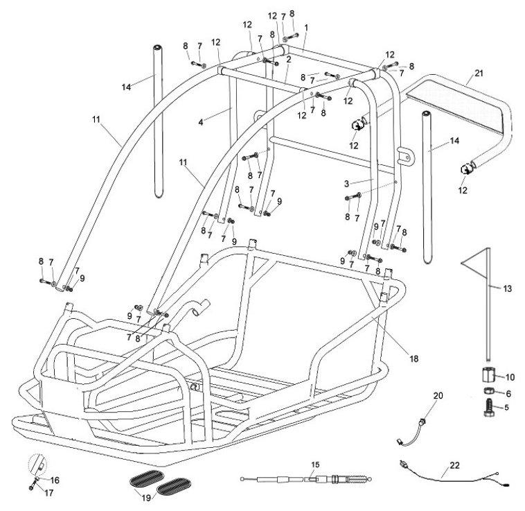 American Sportworks 3170 Go Kart Parts Breakdown