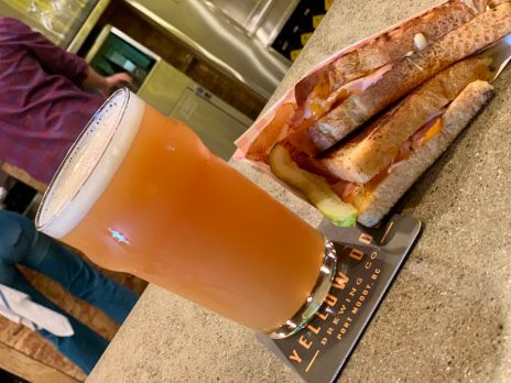 Beer and grilled cheese at Yellow Dog, yummy!