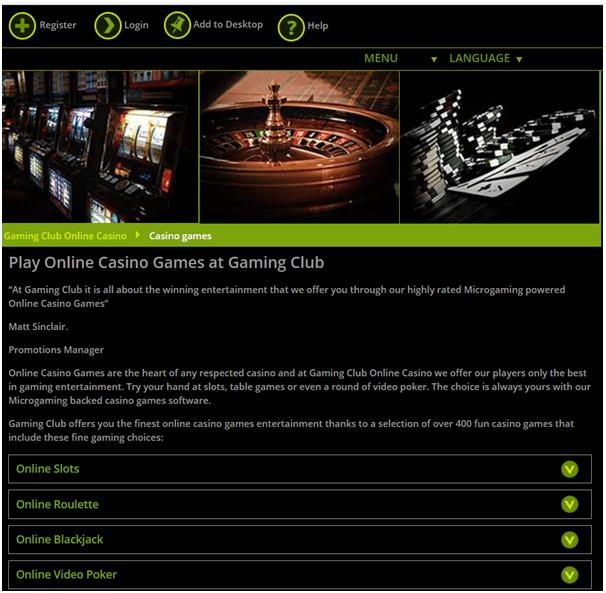 Gaming club casino spellen