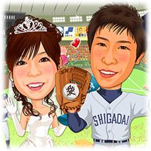 大学野球チームユニフォーム東京ドーム背景似顔絵ウェルカムボード