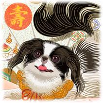 2018年犬・戌年干支年賀状素材-1-横「いぬどし宝づくし」