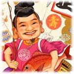 2018年年賀状イラスト素材-20-横「七福神・恵比寿様・犬・戌年干支」