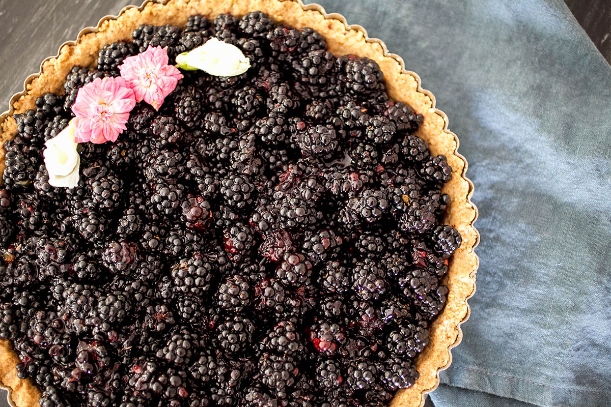 Fresh Blackberry Tart + Walnut Crust