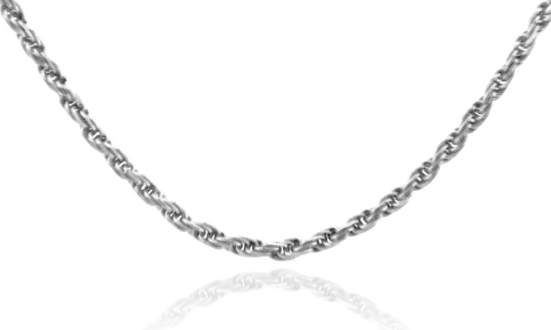 1mm Rope Chain in 9ct White Gold