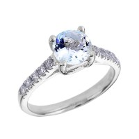 1.0ct Aquamarine and Diamond Solitaire Engagement Ring in ...