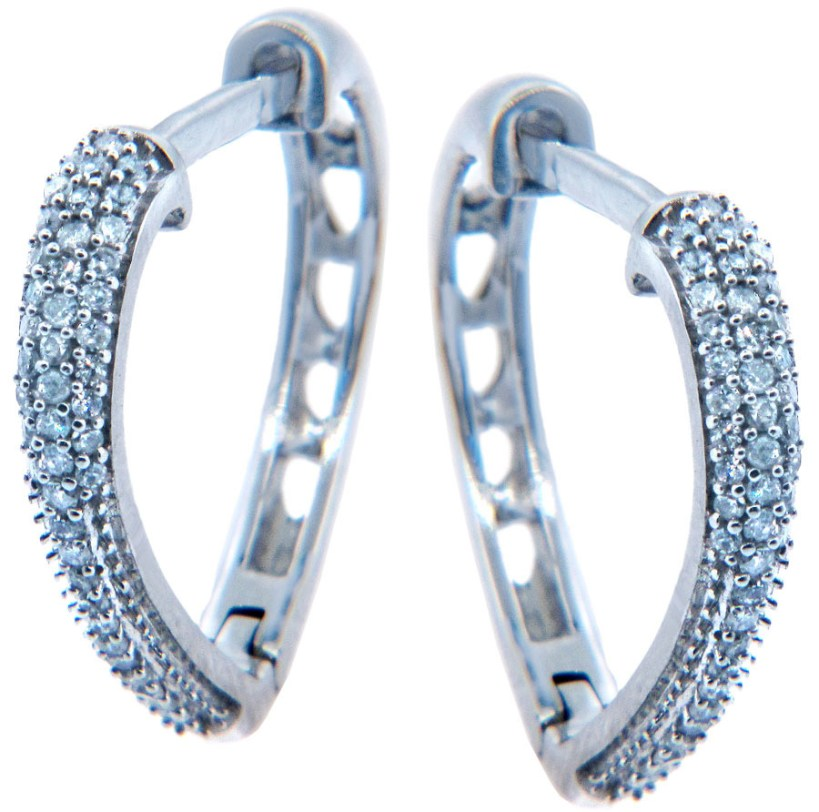 Diamond Pave Heart Hoop Earrings in 9ct White Gold
