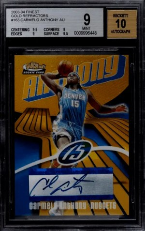 2003 Carmelo Anthony Topps Finest rookie card
