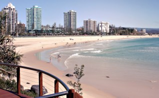 Bright Sunny Day at Coolangatta Beach on Australia's Gold Coast (pastel)