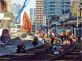 Gold Coast Light Rail Construction through Surfers Paradise - May 2013