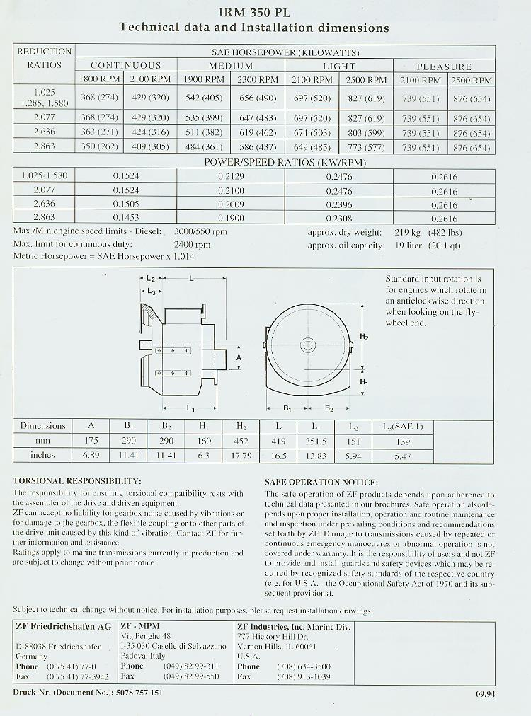 ZF-IRM350PL1 Used Marine transmission