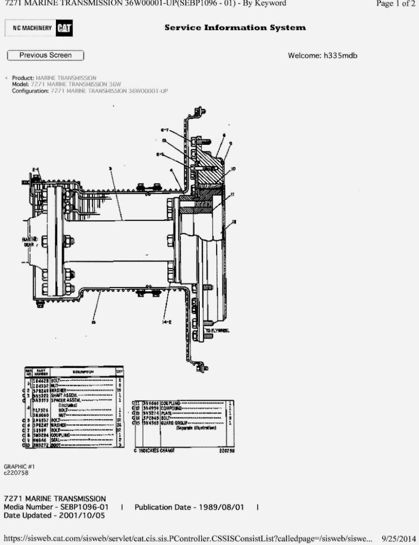 CATEPILLLAR-7271 Good Used marine transmissions