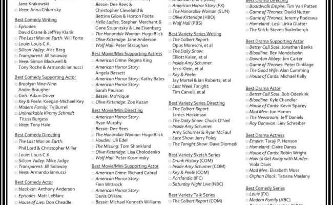 Emmy Ballot Print Your Own To Play Along At Home Goldderby