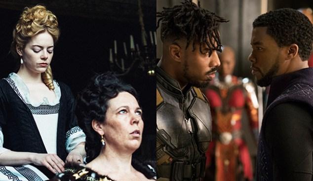 Emma Stone and Olivia Colman, The Favourite; Michael B. Jordan and Chadwick Boseman, Black Panther