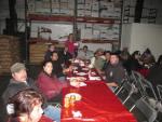 Salvador Vera and the floor crew enjoying lunch