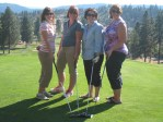 Kathy Poppe, Tifanie Chavez, Maria Contreras and Tricia Hill having fun at the Gold Dust Open House Field Day golf scramble.