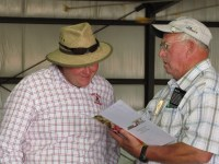 "Weston Walker and Duane ""Sarge"" Preston talking at Gold Dust Potatoes' processing plant in Malin, OR, at the 2013 Open House Field Day."