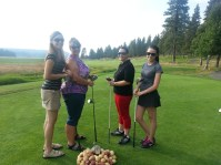 A team photo of Katie Walker, Tricia Hill, Maria Contreras and Annie Sproule at the 2013 Gold Dust Potatoes Open House Field Day golf scramble.
