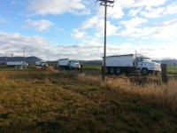 Potato trucks leaving the shop in Merrill, OR, to head out to the potato fields in the Klamath Basin.