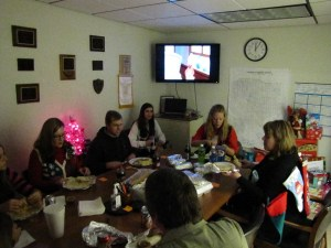 The Gold Dust office staff gathered for a Christmas Party in their upstairs conference room.