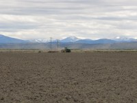 A tractor pulls a disc through a prepped field near Newell, California.