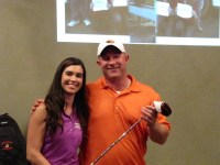 Ken Hibbard with Lexi Crawford accepting the award for Men's KP at Gold Dust's 2014 Open House Field Day golf scramble held at the Running Y Ranch resort.