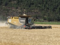 Walker Brothers' Claas Lexion 750 cutting a wheat field at the Running Y Ranch near Klamath Falls, Oregon.