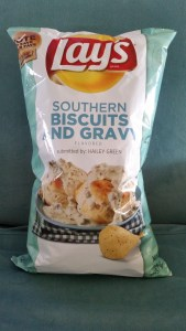 A photo of a bag of Lays Southern Biscuits & Gravy Potato Chips