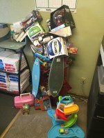 A pile of toys donated by Gold Dust's employees for the company's toy drive for the Klamath Falls Toys For Tots.
