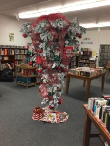 A photo taken by Christa Moore of the Misfit Tree donated to the Malin Library by Bill Walker and Gold Dust Potato Processors.
