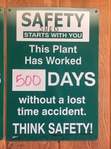 A sign on the wall of Gold Dust Potato Processors' packing shed indicating the number of days the plant has gone without an accident.