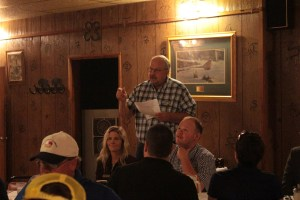Bill Walker thanking chipping potato growers at Gold Dust and Walker Farms' 17th Annual Open House Field Day breakfast at Mike & Wanda's restaurant in Tulelake, CA.